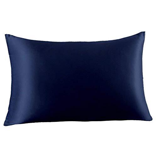 FLCA - Funda de almohada de seda de morera 100% pura, 19 Momme Charmeuse en ambos lados, hipoalergénica, con cremallera oculta, 1 unidad, 50 x 75 cm, seda sintética, Azul Nave, Standard(50x75cm)