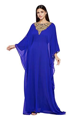 ANIIQ Dubai Farasha Kaftan für Damen, lange Ärmel, Abendkleid, Party, Hochzeitskleid mit gratis Schal - mehrfarbig - 5X-Groß