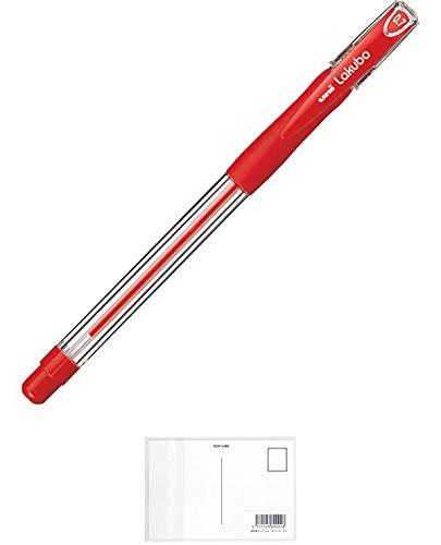 三菱鉛筆 油性ボールペン VERY楽ボ SG10007.15 赤 【3セット】 + 画材屋ドットコム ポストカードA