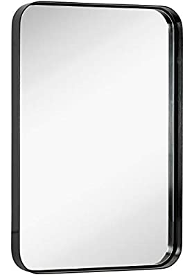 Hamilton Hills Contemporary Brushed Metal Wall Mirror | Glass Panel Black Framed Rounded Corner Deep Set Design | Mirrored Rectangle Hangs Horizontal or Vertical