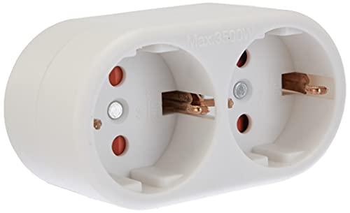 Brennenstuhl 1508180 Enchufe Adaptador de 2 Tomas con Conector de Tierra, 240 V, Blanco