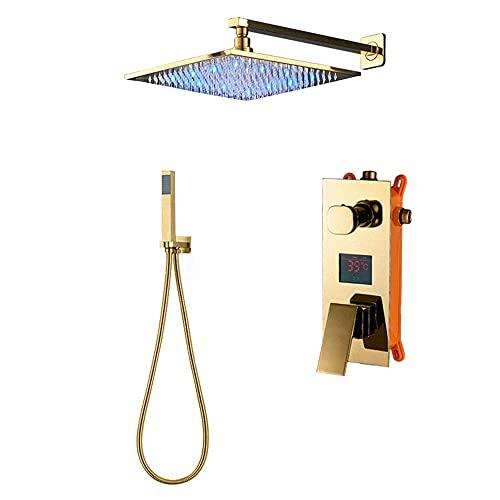 System prysznicowy Łazienka Digitail Wyświetlacz Bateria wannowa Prysznic Opady deszczu LED 2-drożna bateria łazienkowa Potrójny zawór mieszający LCD, złote polerowane wykończenie, 12 cali