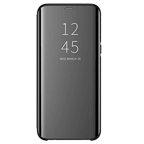 Funda para Xiaomi Redmi 6/6A Suave + Duro Carcasa Espejo Mirror Flip Caso Ultra Delgada Shock Caja del Teléfono Translucent Window View (Negro, Xiaomi Redmi 6)