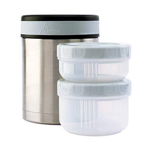 Laken Isolierflasche Edelstahl Lebensmittelbehalter mit Neopren-Uberzug 1 Liter + 2 PP Behalter, Plain