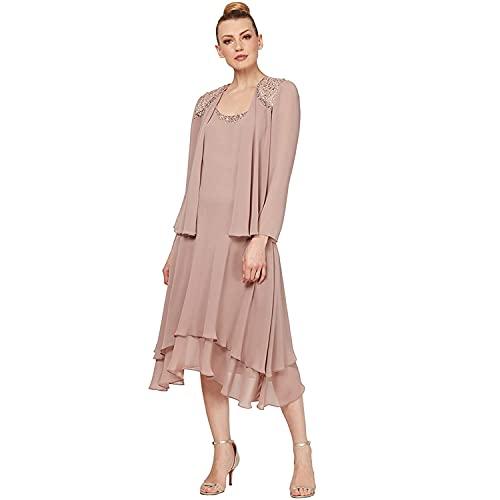 S.L. Fashions Women's Embellished Chiffon Tiered Jacket Dress, Cashmere, 10