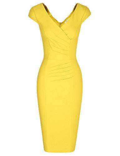 MUXXN Women's Vintage Deep V Neck Ruched Waist Bodycon Sexy Mini Dress (Yellow S)