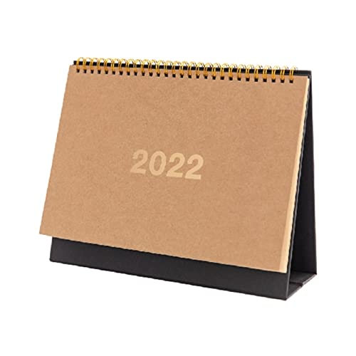 Wall Calendar 3 Sizes 2022 Simple Black Khaki Desktop Calendar Dual Daily Schedule Table Planner Yearly Agenda Organizer Office Supplies (Color : H02-L)