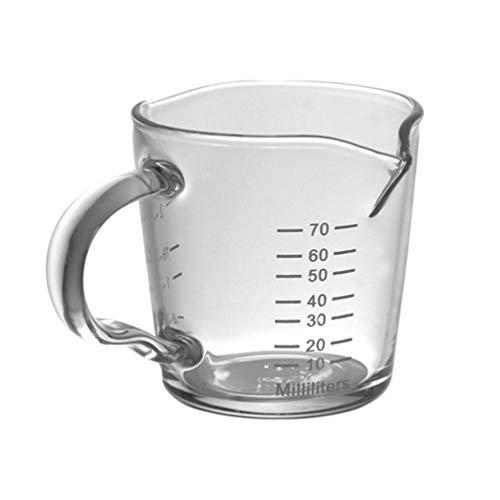 Cabilock Mini Taza Medidora de Vidrio con Mango Doble Boquilla de Medición Taza de Leche Triple de Leche Taza de Medición para Bar Fiesta Vino Cóctel Bebida Coctelera Café con Leche