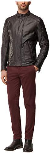 BOSS Orange Herren Jonal Leather-Jacket Lederjacke, Rot, 44