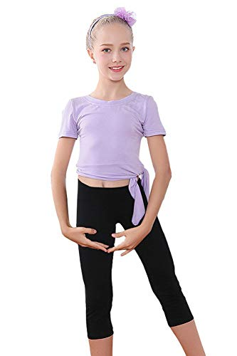 Girls Ballet Leotard Dance Outfits with Short Sleeves Top and Capri Leggings Kids Gymnastics Clothes Set Purple