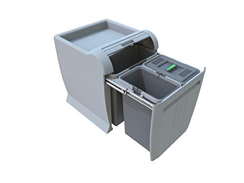 ELLETIPI City PTA 4040B Cubo de Basura de Reciclaje extraíble por la Base. Color Gris. Dimensiones: 35x 42x 44 cm