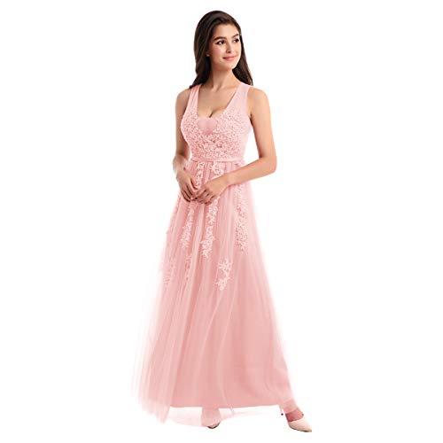 OBEEII Damen Kleid Festliche Kleider Brautjungfer Hochzeit Cocktailkleid Chiffon Faltenrock Elegant Langes Abendkleid Rosa EU 54