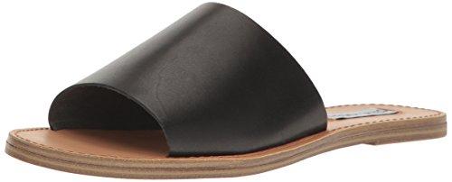 Steve Madden Women's Grace Flat Sandal, Black Leather, 6.5 M US