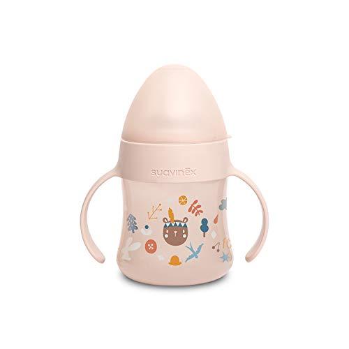 Suavinex Biberón Con Asas First Suavinex 150ml, Con Boquilla Antiderrame de Silicona, Para Bebés +4 Meses, Color Rosa