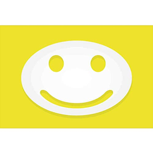 bybyhome Underwater World Backdrop Yellow Decor,Rise and Shine Positive Optimistic Classic Big Smiley Happy Face Artwork,Yellow and White Underwater Backdrop Image Decor L30 X H12 Inch