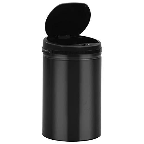 Cubo de Basura de Apertura automática Cubo de Basura con Sensor automático 30L Acero al Carbono Negro