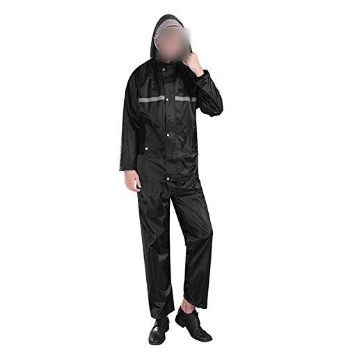 who-care Schwarzer Regenmantel, geteilter Anzug, reflektierende Streifen, Regenhose, Erwachsenen-Regenmantel, Fahrrad, Elektro-Motorrad, wasserdichte Regenbekleidung Gr. L, Schwarz