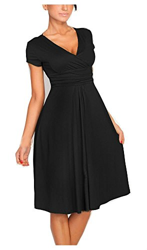 YEEZ Women's Elegant V-Neck Ruched Waist Casual Maternity Cocktail Dress Black,Small