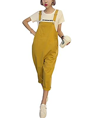 Yeokou Women's Loose Baggy Cotton Wide Leg Jumpsuit Rompers Overalls Harem Pants (Large, Yellow001) by