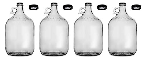 North Mountain Supply 1 Gallon Glass Fermenting Jug with Handle, Black Polyseal Lid & Black Metal Lid - Set of 4
