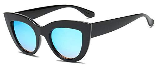 Gafas de sol negro mate para mujer UV400 para conducir, ciclismo, pesca, golf, Black V Blue,