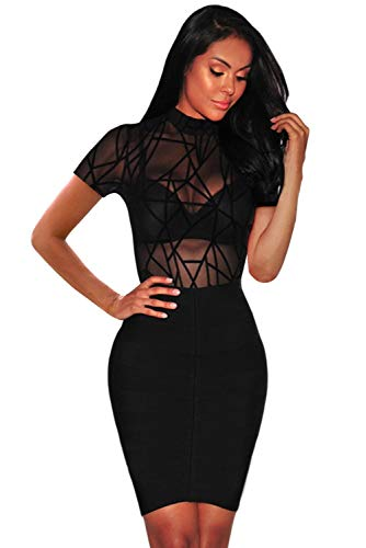 Boldgal Women's Western High-Neck Bodycon Mesh Bodysuit Top (Black_Large)