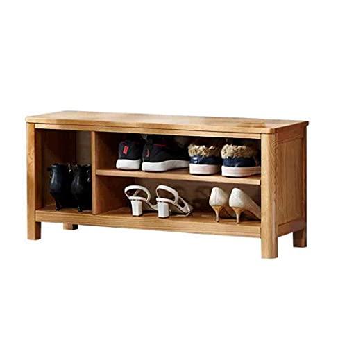FSYGZJ Banco de Zapatero de Madera Maciza para Entrada Gabinete de Zapatos de Simplicidad Moderna Banco de Zapatos de Cambio de Gran Capacidad (Color: Color Madera, Tamaño: 80 cm)
