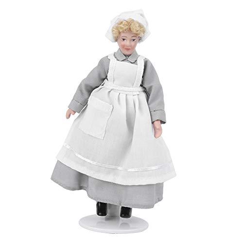 Junlucki Dollhouse People, Miniatura de Porcelana de cerámica de 6 Pulgadas, casa de muñecas Victoriana, con Juntas móviles, Decorativa para niños y Adultos(Chef)