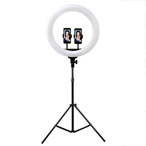 LYNNDRE Anillo De Luz LED, Luz De Relleno De Anillo De 18 '' con Trípode Ajustable Y Soporte para Teléfono, Anillo De Luz De 3 Modos De Luz con Control Remoto para Maquillaje, Video,18 Inch