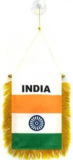 AZ FLAG India Mini Banner 6'' x 4'' - Indian Pennant 15 x 10 cm - Mini Banners 4x6 inch Suction Cup Hanger
