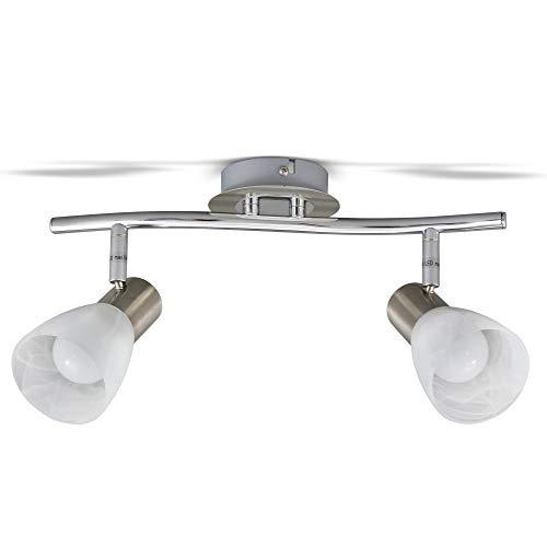 Plafoniera LED con 2 faretti orientabili, include 2 lampadine da 5W E14, lampada da soffitto per soggiorno, sala o camera da letto, metallo color nickel opaco e vetro, 230V, IP20