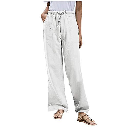 CUPPP Pantalones Mujer Cintura Alta Boho Verano con Estampado Pants de harén, Pantalones de Playa Casuales fluidos Hippie Danza Pilates Yoga Pants
