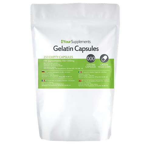 """Your Supplements - Cápsulas de gelatina, Vacías, Tamaño""""000"""", 250 piezas"""