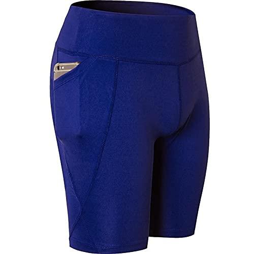 Pantalones Cortos para Mujer Color sólido Simple con Bolsillos Cintura Media Alta Fitness Deportes Correr Medias de Secado rápido Gimnasio Pantalones Cortos de Yoga elásticos Altos L