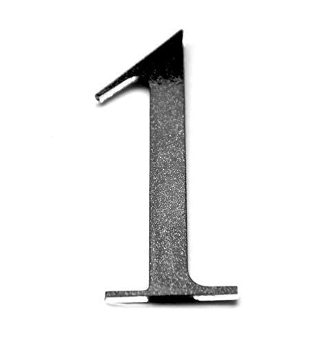 Hausnummer Selbstklebend Schwarz 0 bis 9 - EINS - Ziffer für Briefkasten Zimmer Acryl Glas mit Glanz-Design mit Aufkleber Hausnummer (1)