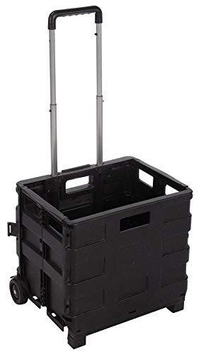 Carro Plegable Multiusos Caja Plegable con Ruedas, Negro, 38 x 83,5 x 30 cm