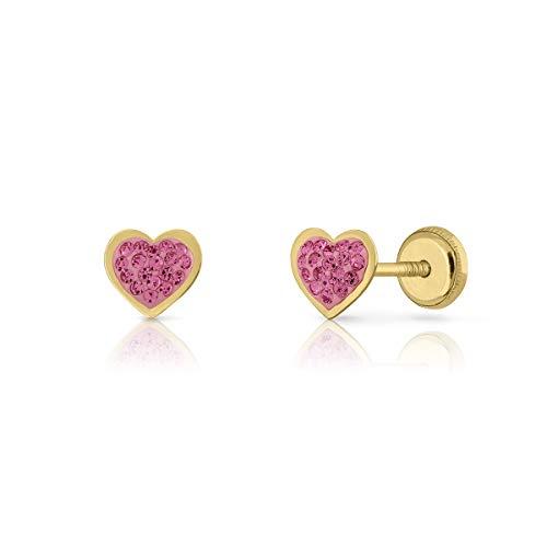 Pendientes Oro de Ley Certificado/Niña/Mujer. Cierre a rosca. Corazón piedras rosas. Medida 6 mm. (4-5236)