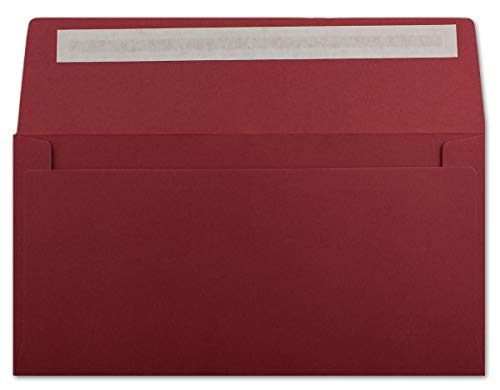 100 DIN Lang Brief-Umschläge Dunkelrot - 11 x 22 cm - 120 g/m² Haftklebung Standard Brief-Kuverts für Taufe & Einladungen von Ihrem Glüxx-Agent