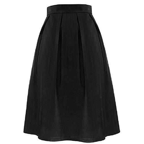 Falda plisada de cintura alta para mujer, estilo europeo y americano, talla grande Negro Negro ( XXL
