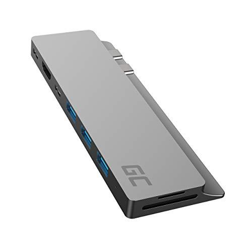 "GC Connect60 HUB USB-C 8im1 Adattatore Docking station (Thunderbolt 3 (4K 60Hz), USB-C, 3xUSB 3.0, HDMI, microSD, SD) Power Delivery 100W per MacBook Pro 13"" / 15"" (2016/2017/2018/2019), Air (2019)"