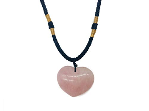 Zungtin Reiki Chakra Gemstone Rose Quartz Healing Crystals Heart Pendant Necklace