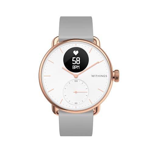 Withings ScanWatch - Reloj inteligente híbrido con ECG, tensiómetro y oxímetro, Oro rosa/blanco, 38 mm