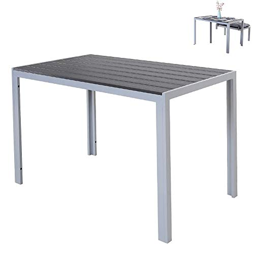Dining Table, Multifunction Aluminium Table, with Polywood Surface, Indoor Or Outdoor Patio Bistro Table Garden Furniture Side Table,120 X 70 X 75Cm