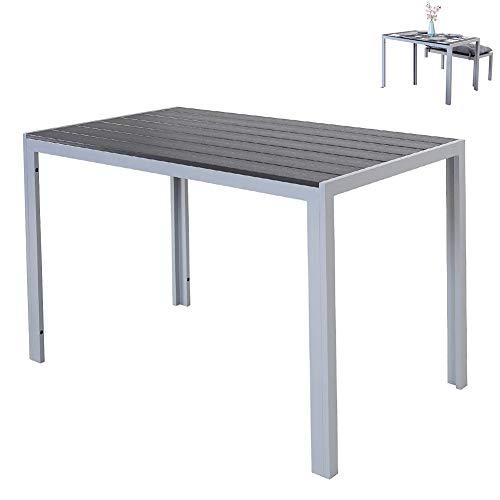 DNNAL Comedor, Multifunción Tabla de Aluminio, con Polywood de Superficie, Interior o Exterior Patio Bistro Tabla Muebles de jardín Mesa Lateral, de 120 x 70 x 75cm