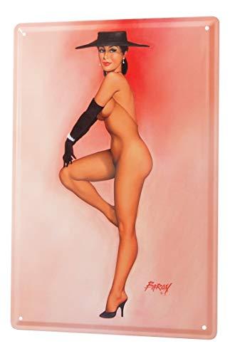 LEotiE SINCE 2004 Cartel de Chapa Baron Chica Pin-up Sexy Vestido sólo con Sombrero Negro, Guantes y Bombas de 20x30 cm