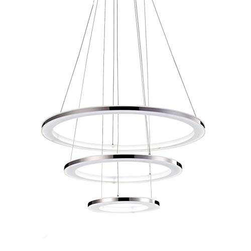 Lámpara colgante 75W LED regulable mando distancia 3-Ring lámpara de mesa comedor acero inoxidable y acrílico altura regulable,comedor salón restaurante oficina lámpara colgante (20 + 40 + 60 cm)