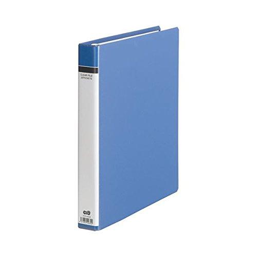 TANOSEE クリヤーファイル(貼り表紙) A4タテ 30穴 25ポケット付属 背幅42mm 青 1冊 ×5セット