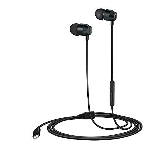 PALOVUE Lightning Headphones Earphones Earbuds in-Ear Magnetic MFi Certified with Microphone Controller Compatible iPhone 11 Pro Max X XS Max XR iPhone 8 Plus iPhone 7Plus Earflow (Metallic Black)