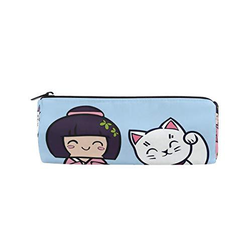 Japanse Plutus Kat met Kimono Meisje Potlood Case Houder voor Kinderen Jongens Meisjes Student Pen Bag Pouch School Ronde Make-up Bag