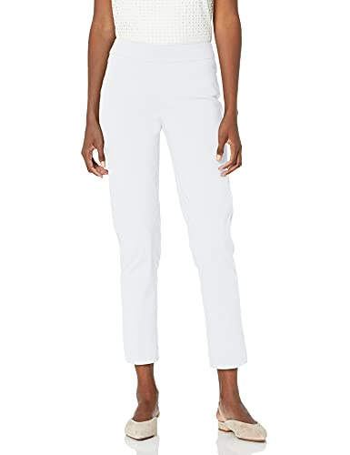 SLIM-SATION Women's Wide Band Pull On Ankle Pant with Tummy Control, White, 16
